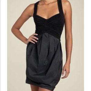 BCBG MaxAzria - Black Jersey Taffeta Halter Dress